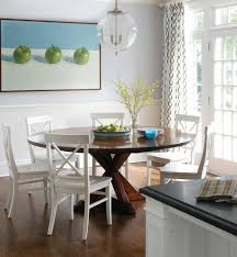 dark table with light chairs dining room modern with white molding