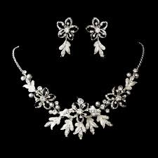 silver bridal necklace images Lovely floral bridal jewelry set elegant bridal hair accessories jpg