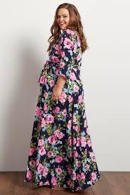 navy maxi dress navy neon floral draped 3 4 sleeve maxi dress