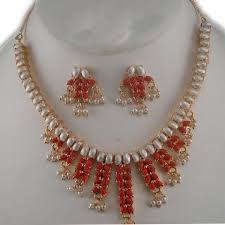 necklace pearl designs images South indian design coral pearl necklace with earrings gleam jewels jpg