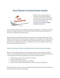 Resume Examples For Teacher Assistant Primary Teacher Resume Sample Special Education Assistant