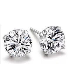 boys earrings mens boys silver rhinestone diamante 4mm stud earrings ebay