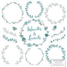 floral wreaths laurels in vintage blue vintage blue flower