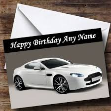rose gold aston martin white aston martin vantage v personalised birthday card the card zoo