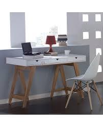 bureau gris laqué bureau style scandinave plateau laque 3 tiroir piétement pin