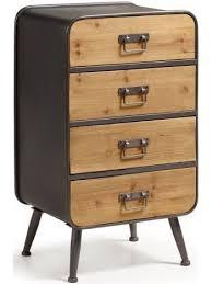 cassetti metallo rudo 48x38 in legno di abete e metallo con cassetti cassettiera