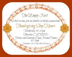 the empty nest thanksgiving shop hours the empty nest