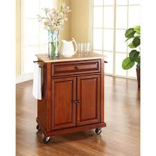 hampton bay ashby navy body with wood top kitchen cart with 2
