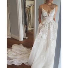 wedding dress with pockets a line spaghetti straps court wedding dress with appliques