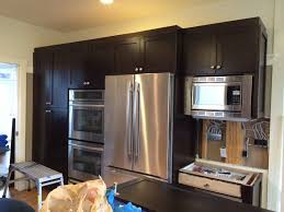 espresso stained kitchen cabinets attached and new cabinet