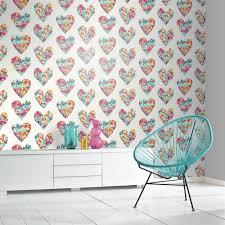 Modern Floral Wallpaper Arthouse Clara Heart Pattern Wallpaper Floral Flower Motif 675500