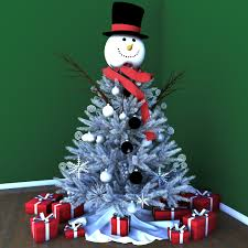 White Christmas Tree With Blue Decorations Christmas Tree 3d Model