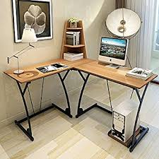 Office Computer Desks Amazon Com Homcom 67 Inch L Shaped Computer Desk Brown Kitchen