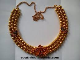 gold beaded necklace india images Three layer gold bead necklace south india jewels jpg