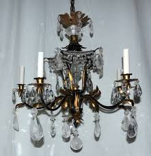 Antique Rock Crystal Chandelier Ch822 Bagues Five Light Rock Crystal Beaded Two Tone Gilt Pagoda