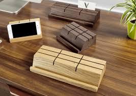 wooden business card holder mobile phone holder stand feelgift