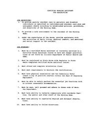Nursing Assistant Job Description For Resume by Attraktiv Nursing Assistant Objective For Resume Examples Shopgrat