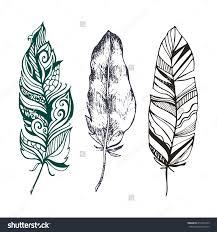 set of beautiful stylish ethnic feathers design