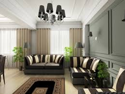 grey accent wall living room and brown curtains connected by