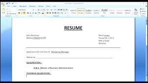 Sample Resume Templates Word Simple Resume Format In Word Template