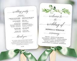 Wedding Fan Program Template Free Greenery Wedding Fan Program Printable Wedding Fan Program