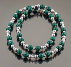 silver bead necklace tiffany images Tiffany co sterling silver and malachite beads necklace 29 jpg