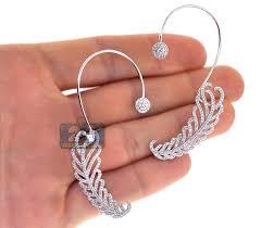 diamond ear cuff womens diamond ear cuffs earrings 18k white gold 2 00 carat