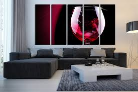 modern kitchen canvas art 5 piece large pictures wine glass photo canvas red wine multi