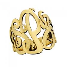 gold monogram ring zeuner 3 initial monogram ring authentic