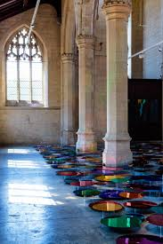 colorful mirror installation on a former church floor u2013 fubiz media