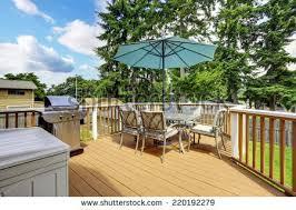 Deck In The Backyard Wooden Walkout Deck Backyard Garden Blue Stock Photo 453096895