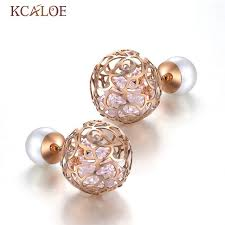 two sided earrings aliexpress buy kcaloe pearl earrings big