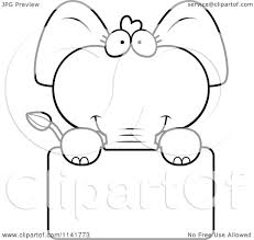 cartoon clipart of a black and white cute baby elephant holding a