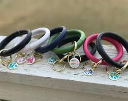 Monogrammed Bangle Bracelet Monogram Keyring Etsy