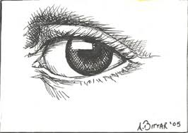 drawn eye ink drawing pencil and in color drawn eye ink drawing