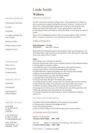 Waiter Resume Examples by Waitress Resume Skills Cv01 Billybullock Us