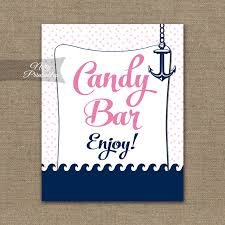 Baby Shower Candy Buffet Sign by Candy Buffet Sign Pink Nautical Nifty Printables