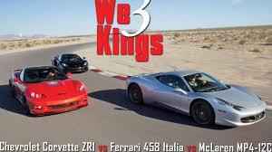 fastest lamborghini vs fastest ferrari chevrolet corvette zr1 vs ferrari 458 italia vs mclaren mp4 12c