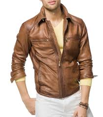 biker jacket men tan brown mens leather biker jackets leathersketch