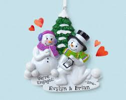engagement snowman couple personalized ornament she said