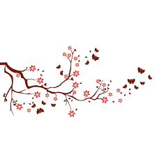 blooming cherry blossom tree silhouette wall decal