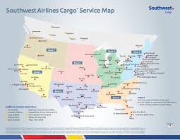 East Coast Time Zone Map by Southwest Air Cargo Map And Cargo Destinations