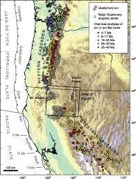 Map Of Western United States Oligocene And Miocene Arc Volcanism In Northeastern California