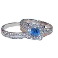 stainless steel wedding ring sets women s halo sapphire blue clear cz wedding ring set stainless