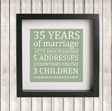 35th anniversary gift 35th year anniversary gift rustic burlap look personalized with