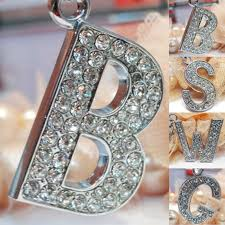 crystal chain rings images Lnrrabc fashion new crystal rhinestones alphabet keyring initial jpg