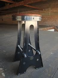 Industrial Metal Bar Stool Vintage Industrial Metal Bar Stool In Black Finished With