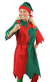 elf christmas fancy dress costume green red long dress with hat