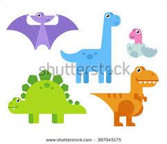 cute cartoon dinosaurs simple modern stock illustration
