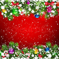 christmas background with snow covered branches of christmas tree